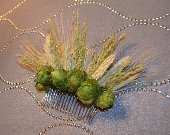 Hops Wheat and Barley, Wedding Hair Accessory, Wedding Hair Comb, Hair Comb. Dried Flower Hair Comb - Can Be Custom Made to Order