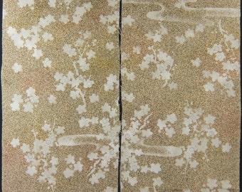 "2pcs(6.7""w. x 14.1""l.) Vintage kimono silk fabric-plum blossom2765M"