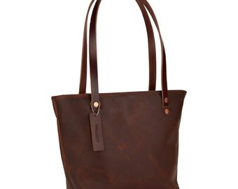 Leather Shoulder Bag (Red Brown Small)