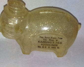 Sparkly Plastic Piggy Bank, IGA Store AD Coin Bank