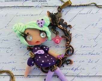 Puppet doll necklace Swarovski