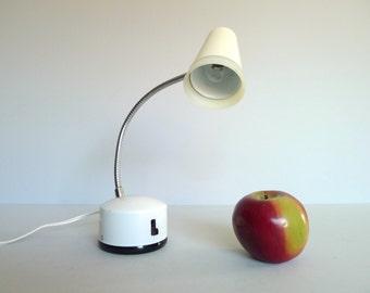 Small Vintage White Norelco Gooseneck Desk Lamp