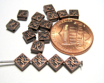50pcs Antique Copper Square Spacer Beads Square Metal Spacer beads