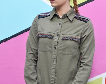 Vintage Boho Festival Khaki Army Jacket / Trench Coat, Customised Outerwear.