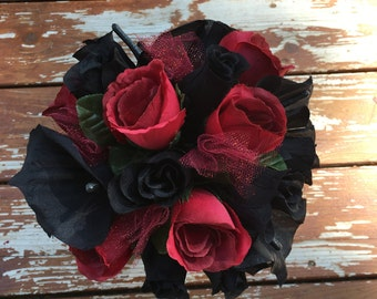 Black and burgundy rose and black calla bouquet