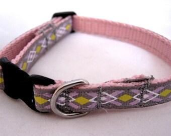 Customizable Pink Gray and Yellow Argyle Breakaway Cat Collar