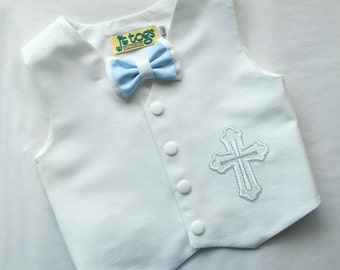 Christening, Baptism, Vest and Bow Tie Set for Infants, Toddlers and Young boys 3 months to size 8