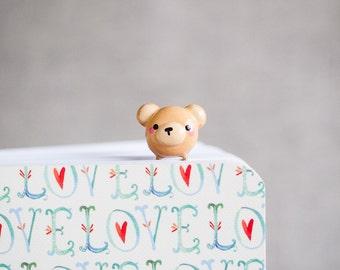 Cute Teddy Bear Gold Planner Paperclip Bookmark - Kawaii Bear Bookmark