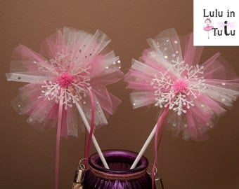 Pink and White Snowflake Tulle Fairy Wands - Various Styles available