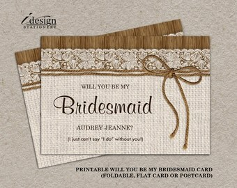 Navy And Coral Will You Be My Bridesmaid Invitation Card DIY