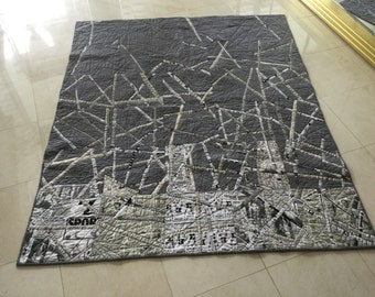 "Quilted""shredded newspaper"" wall  hanging, couch throw"