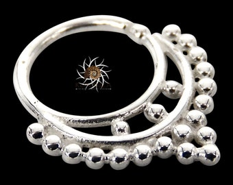 Abha Silver Septum Ring - Septum Jewelry - Septum Piercing - 18G Septum Ring - 16G Septum Ring - Indian Septum Ring - Tribal Septum (S2)