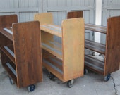Vintage wooden library/bar cart or bookshelf