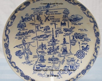 Vintage State Collectors Plate - Indiana - 10 3/8 Inch