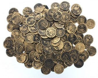Pirate Plastic Crafting Coins 144 Count, For Pirate Treasure Hunts Or Crafting Projects, Stage Props Or Party Decoration, Pirate Gold Coins