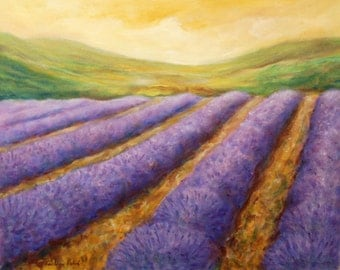 Lavender Field Landscape Painting,  Acrylic on Canvas, Large Painting on Canvas, Wall Decor
