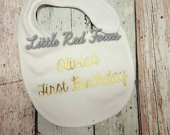 Birthday bib. Cake Smash Bib. Personalised birthday bib. Photo Prop bib