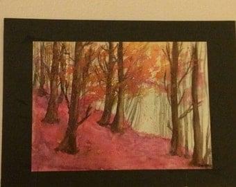 Watercolor Forest Scene