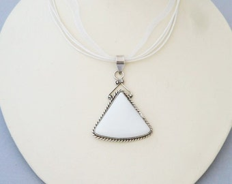 White Agate Pendant // Agate and Sterling Silver Pendant