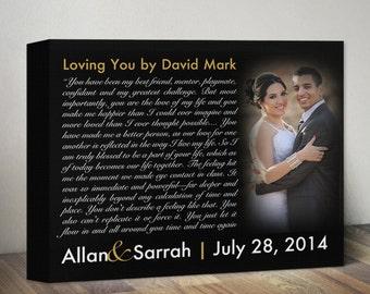 Personalized Song Lyric Canvas Art Anniversary Gift For Men or Wife Custom Wedding Song Lyrics Vows First Dance Lyrics & Photo Wedding Gift