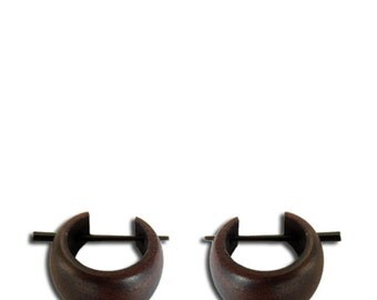 Holzcreolen, dark Holzcreolen, hand-carved out of Brown Sonoholz, 16mm, pin earrings