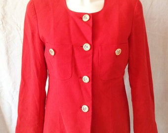 Jacket / Blazer vintage, bright red, gold buttons, James Donna and size F 40 / 42, USA 31, UK 12 / 14.