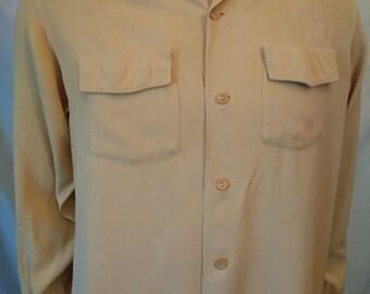Vintage 50's men's Art Vogue gabardine beige shirt long sleeve size Medium