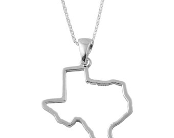 Texas State Silver Outline Necklace, SOTX-6118