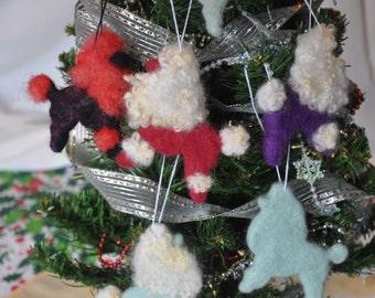 Poodle Ornaments, Santa Poodle, Nebula Poodle, Felted Wool Unbreakable Poodle Ornaments