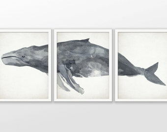 Humpback Whale Print Set Of 3 - Humpback Whale Watercolor Painting Print - Whale Bathroom Art - Set Of Three Prints #2090 - INSTANT DOWNLOAD