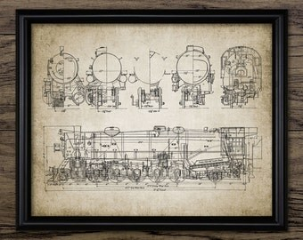 Steam Locomotive Print - Steam Train - Railroad - Vintage Railway Illustration - Blueprint - Schematic - Single Print #941 -INSTANT DOWNLOAD