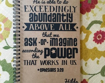 "Personalized Journal, ""Exceedingly, Abundantly More than All We Ask or Imagine"", Ephesians 3:20"