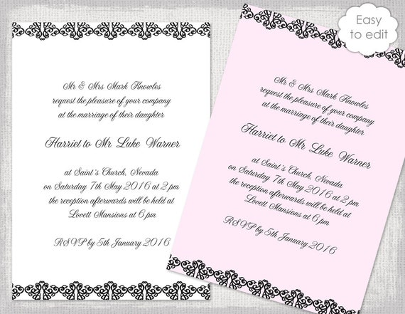 Traditional Wedding Invitation Templates: Black Wedding Invitations Template DIY Printable Traditional