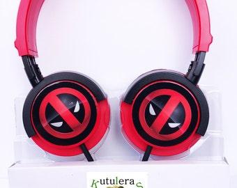 DEADPOOL HEADPHONES SUPERHERO  mp3 geek electronic anime earphones estudio iphone