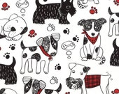 Scribble Dogs Fabric C4672;  Fat Quarter, Half Yard, or By-The-Yard; Timeless Treasures; Dog Fabric; Quilt, Craft, Apprarel, Decor