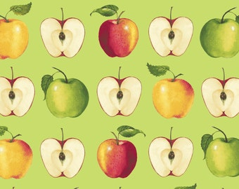 Apples - Green 26445-GRE by Red Rooster Fabrics Cotton Fabric Yardage