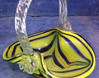 Murano Glass Posy Basket - Mid 20th C [7511]