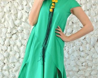 Emerald Maxi Dress, Extravagant Summer Dress, Asymmetrical Cotton Dress TDK182 by TEYXO
