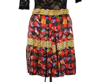 90's Vintage Nicole Miller Pleated Plaid Silk Wrap Skirt Hunting Scene / Hunting Season is Now Open