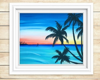 PRINT Sunset Paddle Boarder Painting - Beach Painting - Sunset Painting - PRINT of Original Acrylic Painting - Wall Art - Nautical Decor