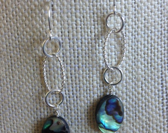 Earrings; sterling silver oval hoop with shell