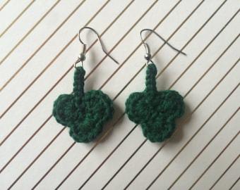 Lucky Green Clover Dangle Earrings
