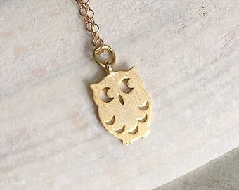 Gold Owl Necklace, Owl Pendant Necklace, Small Owl Necklace, Tiny Gold Owl Necklace, Gold Minimalist Necklace, Gold Bird Necklace
