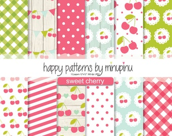 Cherry Digital Paper, Sweet Cherry Patterns, Red Green and Blue Background, Shabby chic Cherry texture with gingham polka dots and stripes
