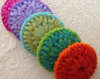 Nylon Pot Scrubber, 5 Colorful Dish Scrubber Crocheted Scrubbies, Double Layered / Non-Abrasive , 4 1/2 - 5 inches diameter, Gift For Her