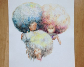 Cotton Candy Afros Art Print