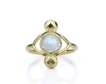 SUMMER SALE - Rainbow moonstone ring,birthstone ring,October birthstone ring,semiprecious ring,stacking ring,gemstone ring