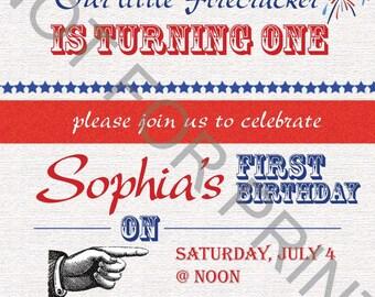 Patriotic Birthday Invitation