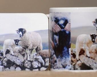 Swaledale sheep mug and coaster