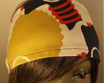 Afro Headband - Mustard and Navy with Red Accents